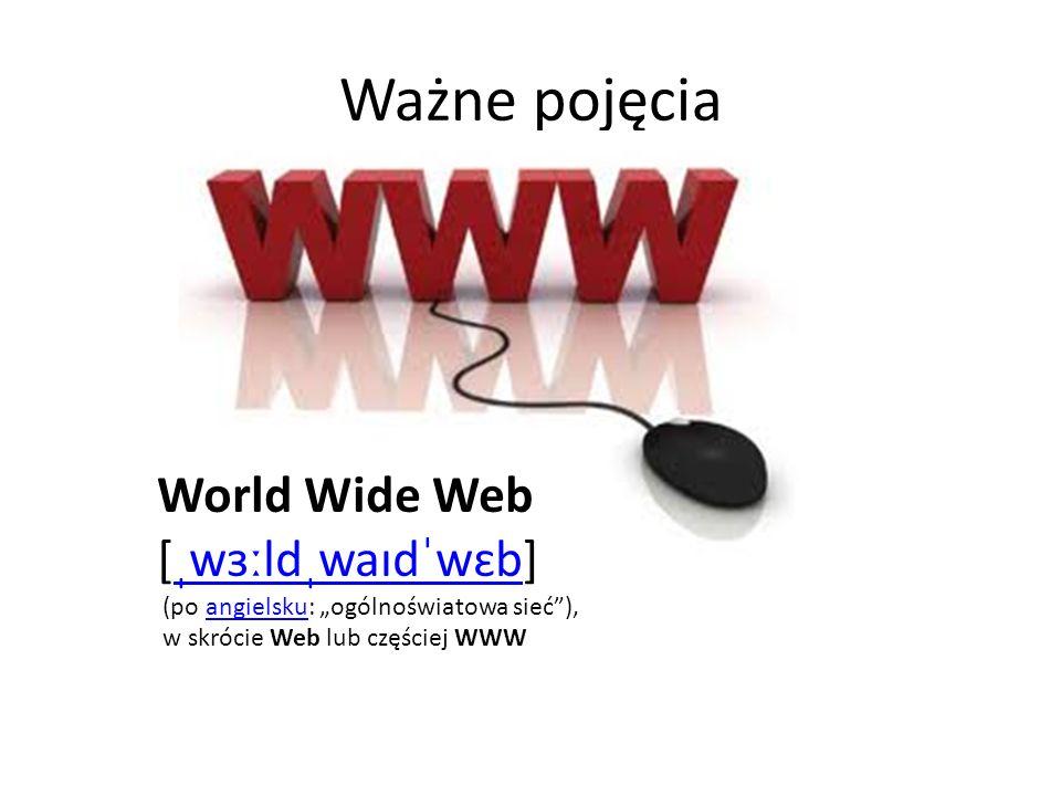 Ważne pojęcia World Wide Web [ˌwɜːldˌwaɪdˈwɛb]
